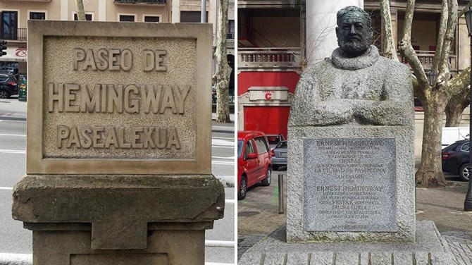 A Street named after Hemingway and his bust near the Pamplona bull ring