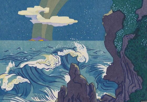 Wild Sea and the Milky Way Athwart the Island of Sado Series: The Haiku Series, #4 Edition: 17 of 50 Portfolio: Haiga Portfolio Stanton Macdonald-Wright (United States, Virginia, Charlottesville, 1890-1973) United States, 1966-1967 Prints; woodcuts Woodcut Sheet: 21 3/8 × 17 3/4 in. (54.29 × 45.09 cm) Image: 19 7/8 × 15 7/8 in. (50.48 × 40.32 cm) Gift of Modernage Photography Service, Inc. (M.85.215.4) Prints and Drawings