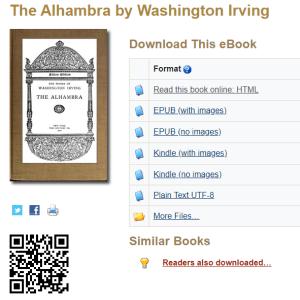 https://www.gutenberg.org/ebooks/49947 Washington Irving's, Tales of the Alhambra on Gutenberg Press