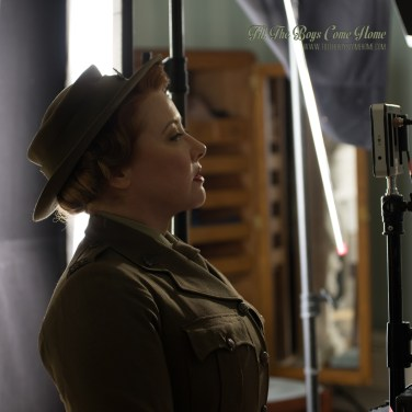 "Sally McLean directing on set in costume for ""Elsie"""