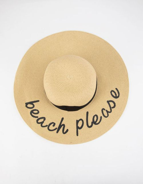 """Beach Please floppy straw hat features a contrasting ribbon around base and """"Beach Please"""" screened on brim."""