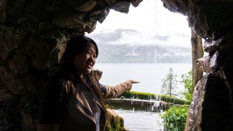 Cathy at St. Beatus Caves