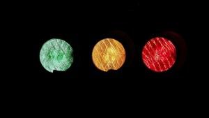 Liggende trafikklys grønt til rødt