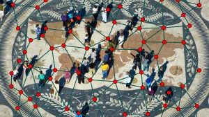 """A View From Above Of People On The Monument """"map Of The World"""" In Lisbon"""