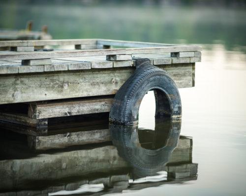 artistic photo of a boat bumper