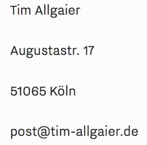 Kontakt Tim Allgaier Daten Anschrift