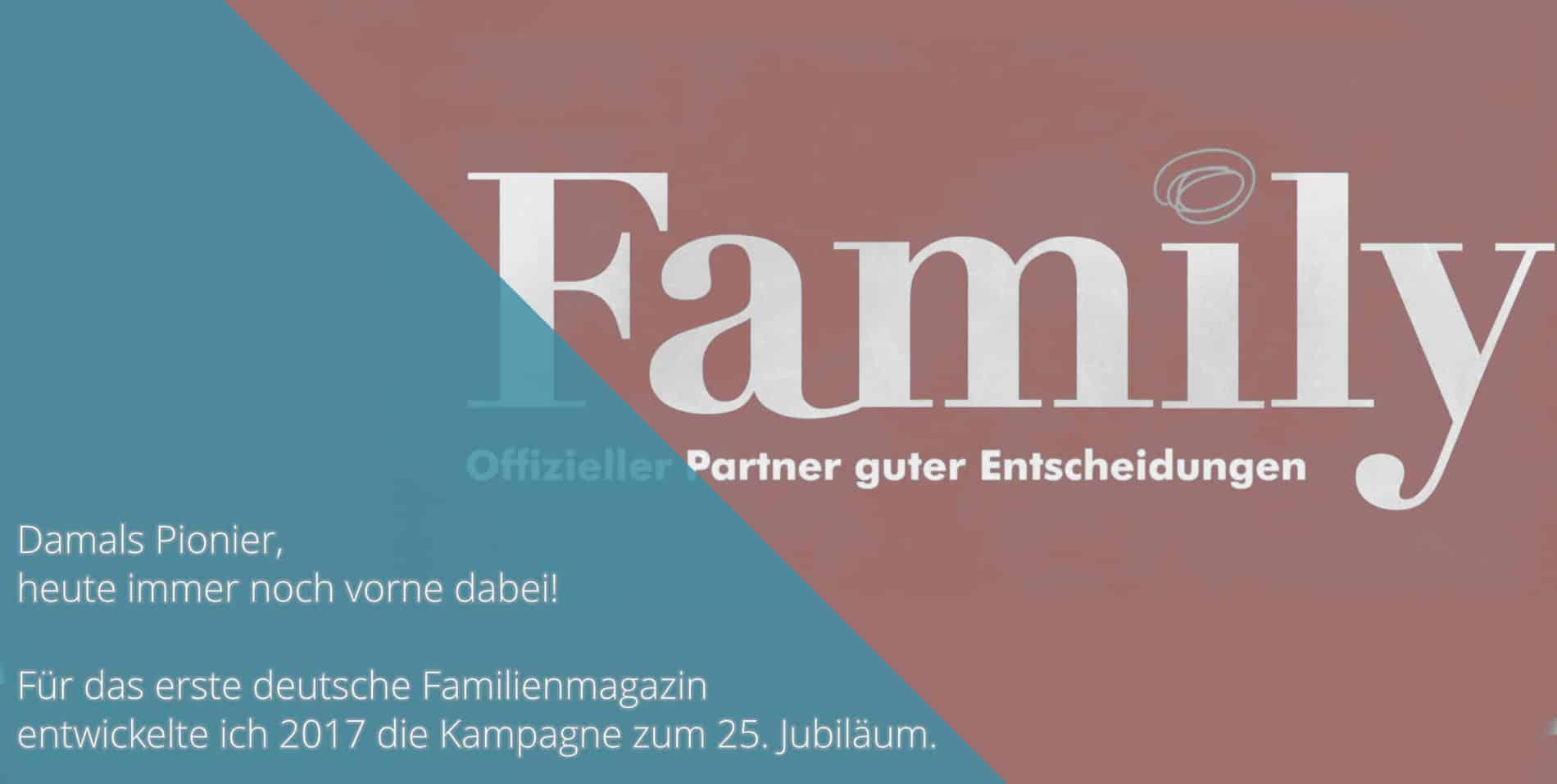 Family Jubiläum Arbeitsprobe Tim Allgaier Texter PR Freelancer Werbetexter köln