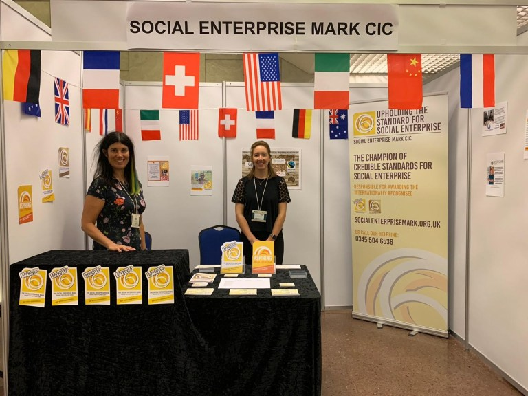 Lucy and Rachel at the Social Enterprise Mark CIC stand
