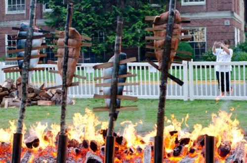 Salmon Baking Over an Open Flame