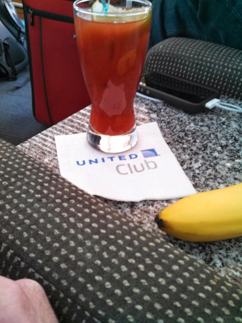 Pre-Vacation United Club Bloody Mary and Banana. Breakfast of champions.