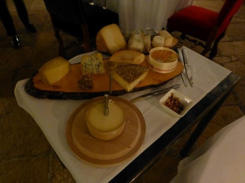 Amazing cheese cart at the restaurant in Abbaye de Maizieres