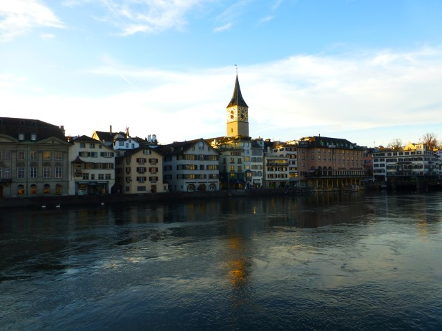 Tour of Zurich - View of St. Peter Church Clock Tower