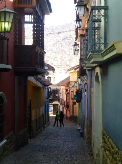 Calle Jaen La Paz, home to restaurants, galleries and shops.