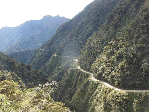 The long winding route down the mountain.