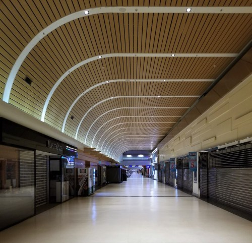 Empty hallways at TPE