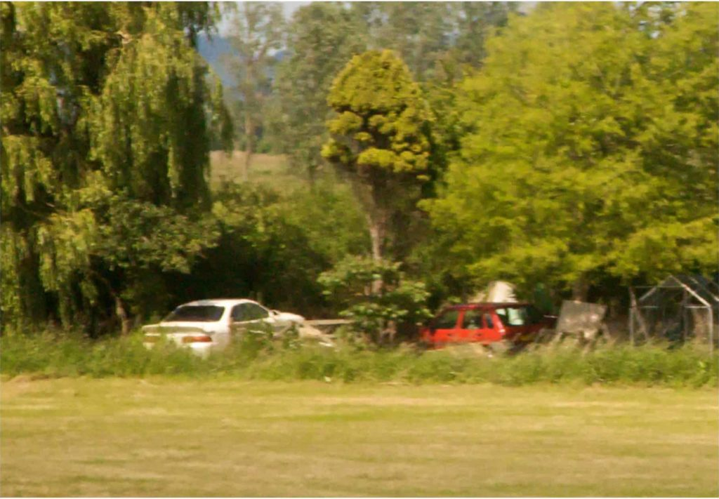 Two cars in landscape, 110 x 76 cm, 2009