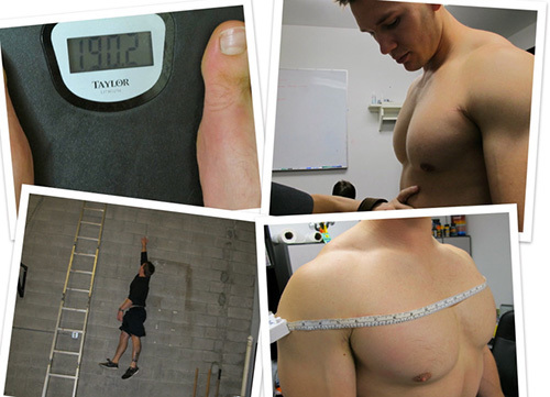 Nate Green workout and nutrition tests collage showing feet on a scale, dietician's hand on his stomach, vertical jump test using ladder rungs, chest circumference measurement with tape.