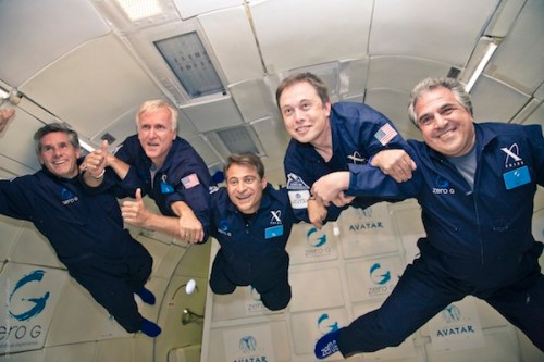 Dr. Peter Diamandis floating with Elon Musk, James Cameron, and others.