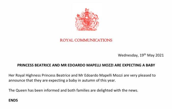PBrittihovin ilmoitus prinsessa Beatricen raskaudesta