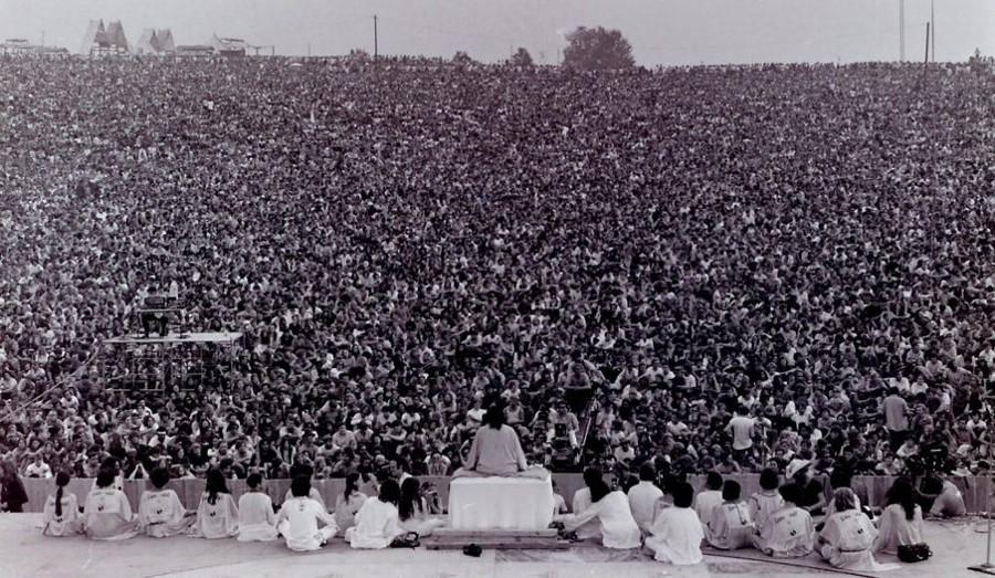 Cerimônia de abertura do festival de Woodstock em 1969