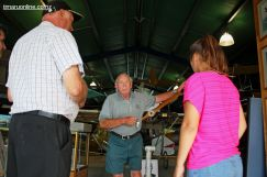 SC Aviation Heritage Centre president Peter Jost, points out the features of the replica of Richard Pearse's aeroplane.