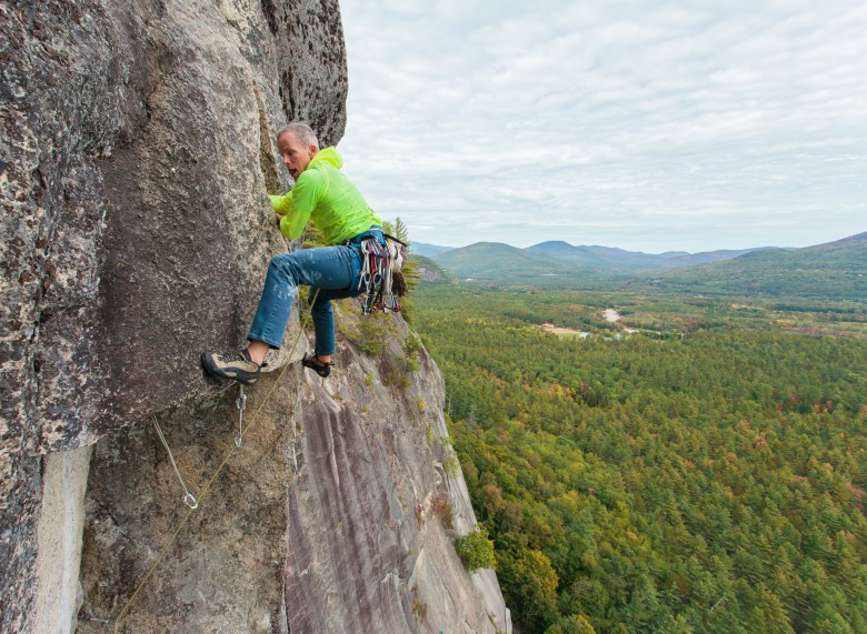 Bryan Gilmore Climbing The Prow on Cathedral Ledge in North Conway, New Hampshire