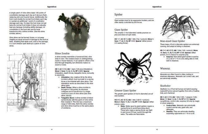 Fully illustrated monster appendix for The Darkness Beneath Dalentown