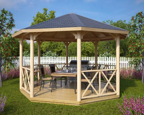 Large Wooden Gazebo Lotte XL 15m² / 4,5 x 4,5 m