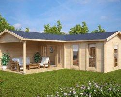 Large Corner Summer House with Veranda Hansa Deluxe B 22m2 / 70mm / 3 x 7 m