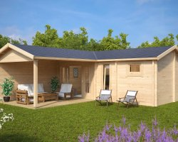 Garden SPA and Sauna Cabin B 22m2 / 70mm / 3 x 7 m