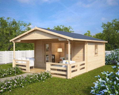 Summer house with Veranda Franz 15m² / 44mm / 6 x 4 m