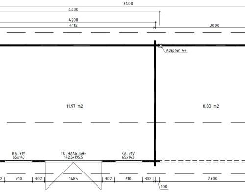 Garden Log Cabin with Veranda Eva D 12m² / 44mm / 3 x 7 m