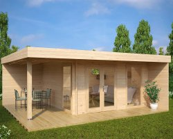 Modern Summer House Hansa Lounge XL with Veranda 14,5m² / 44mm / 6 x 5 m