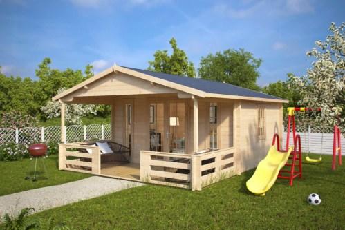 Summer house with Veranda Henry 15m² / 44mm / 6 x 4 m