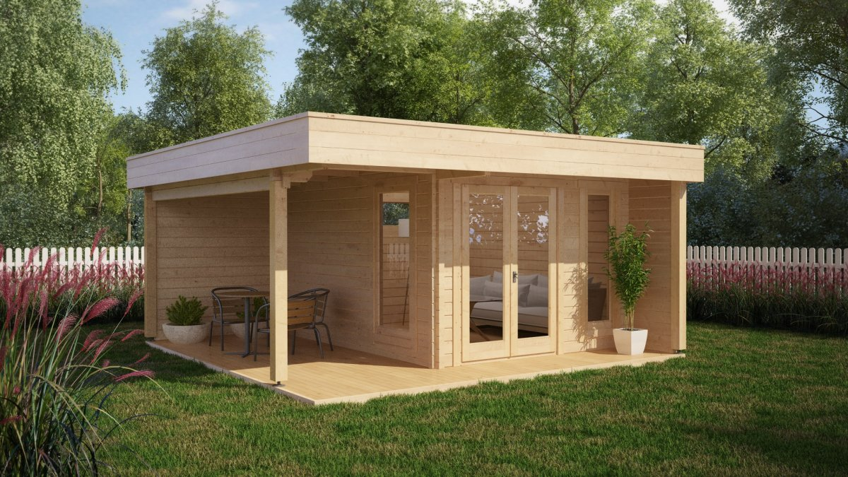 modern garden office hansa lounge with veranda 12m 44mm 5 x 5 m - Garden Sheds With Veranda
