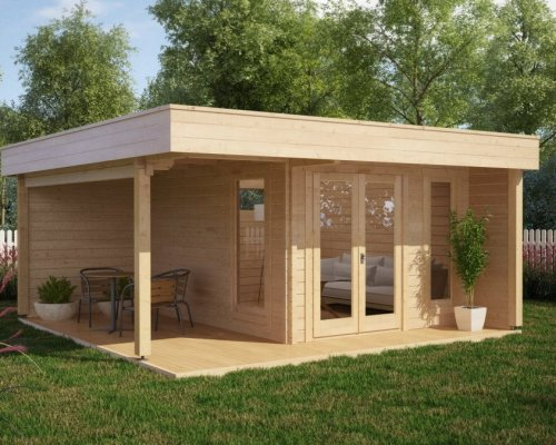 Modern Garden Office Hansa Lounge with Veranda 12m² / 44mm / 5 x 5 m