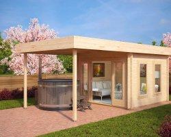 Modern Garden Log Cabin with Canopy Lucas E 9m² / 44mm / 3 x 3 m