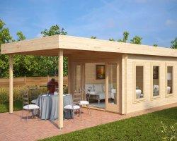 Modern Garden Summer House with Canopy Jacob E 12m² / 44mm / 4 x 3 m