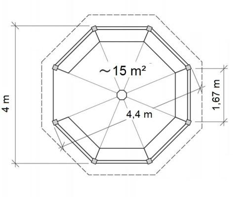 Large Garden Gazebo Elizabeth XL 15m² / 4,5 x 4,5 m