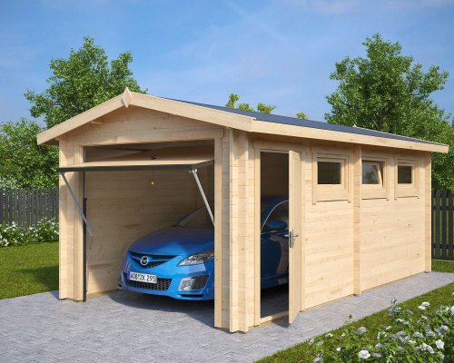 Wooden Garage A with Up and Over Door / 44mm / 3 x 5,5 m