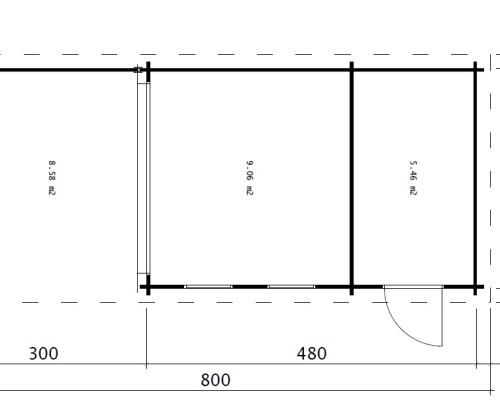 Super Lucas E ground plan - Multifunctional Garden Building Super Lucas E 15m² / 44mm / 8 X 3 M