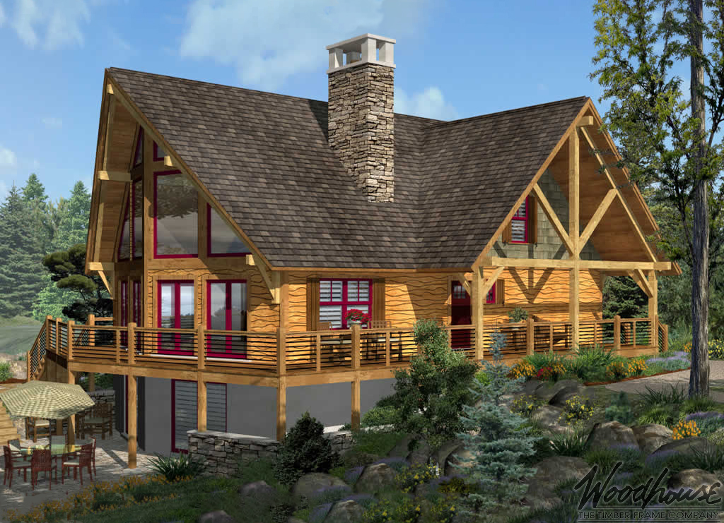 Timber frame home plans woodhouse the timber frame company for Prow home plans
