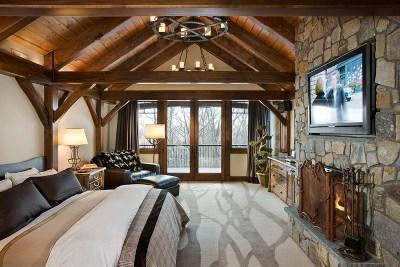 Custom Douglas Fir Timber Frame Bedroom in Windham NY