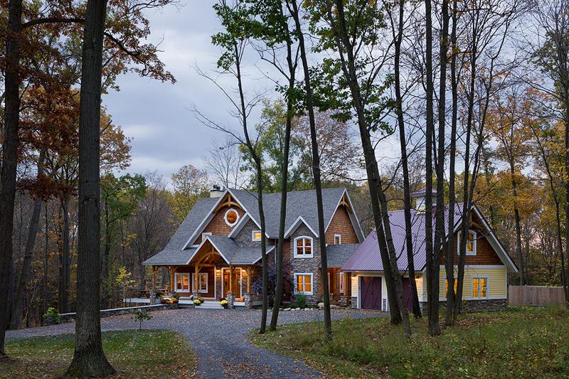 Custom Eastern White Pine Black Walnut Timber Frame