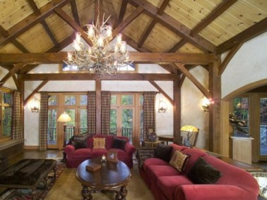 Custom Douglas Fir Timber Frame Home in Windham Mountain NY
