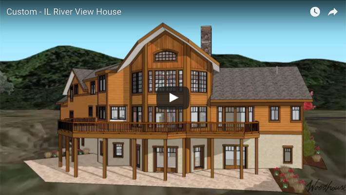 Custom timber frame home with water views in illinois for Custom a frame homes