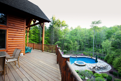 Chapin Timber Frame Poolside Porch Side