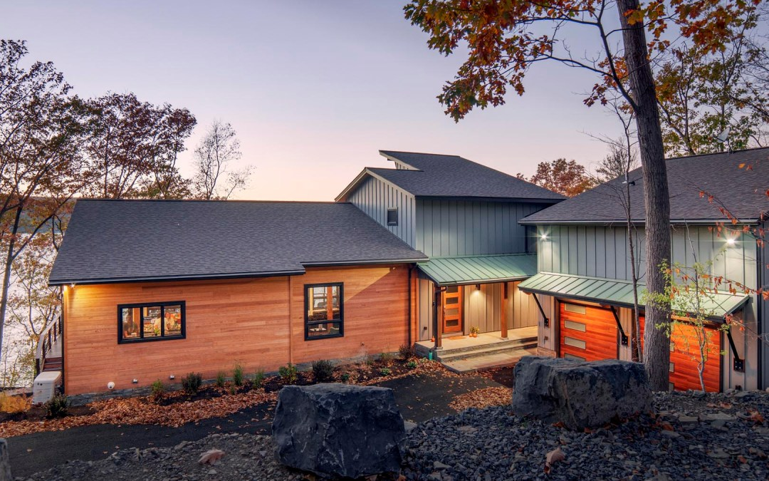 Refined Contemporary Industrial White Oak Timber Frame Lake Home in Burdette, NY