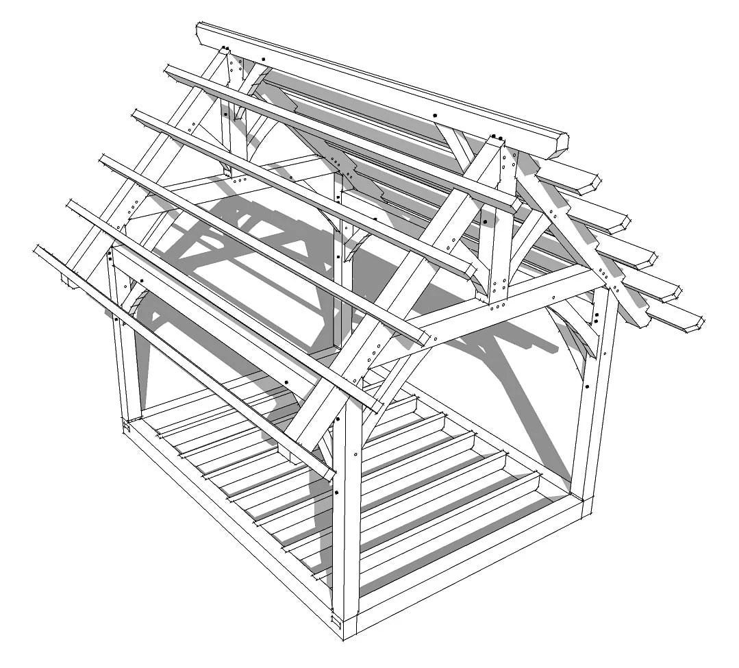 12 16 King Post Timber Frame Plan