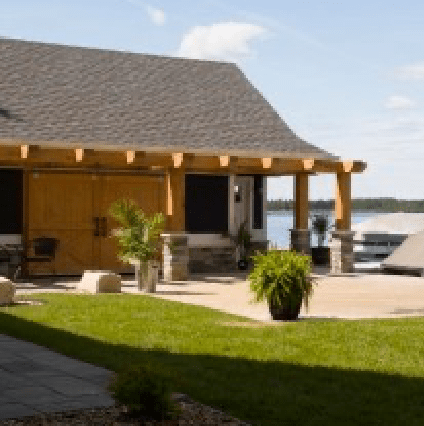Timber frame boathouse